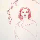 Awakening (Moon Flowers) Conte on vellum 32