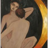 Couple Oil on panel 50 1/2