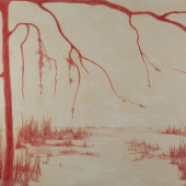 Red Dune Encaustic and conte on panel 32