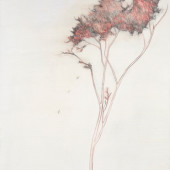 Red Wisps Encaustic and graphite on panel 16
