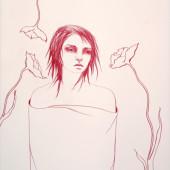 Silence (Three Poppies) Conte on vellum 32