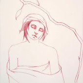 The Dream (Youth with Closed Eyes) Conte on vellum 25