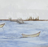 "Three Boats Oil, encaustic and graphite on panel 12"" H x 36"" W"
