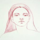 Venus Reclining (Detail) Conte on vellum 35 1/8