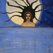 Woman with the Moon and Ocean Oil on vellum 32