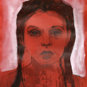 Youth in Red Etching and gouache on velum 7